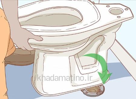 خارج کردن وسیله از دستشویی با بلند کردن توالت فرنگی